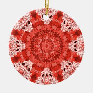 Snowflake Red/Blue Round Ceramic Decoration
