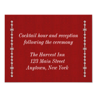Snowflake Red Holiday Reception Card Personalized Invitations