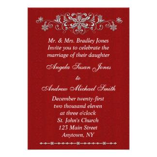 Snowflake Red Invitation