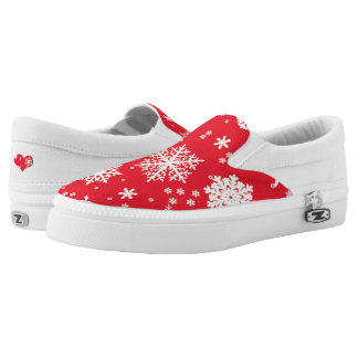 Snowflake Red Slip On Shoes, US Men & Women Sizes Printed Shoes