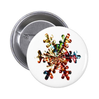 Snowflake - Red Sparkle Holistic Pattern 6 Cm Round Badge