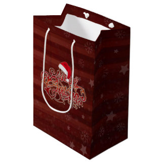 Snowflake Red Stripes Christmas hat Gift Bags