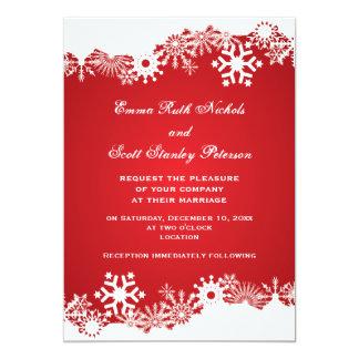 Snowflake red white modern winter wedding 13 cm x 18 cm invitation card