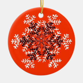 Snowflake Red White Transp The MUSEUM Zazzle Round Ceramic Decoration