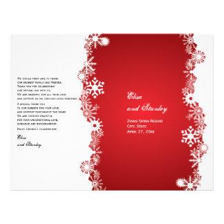 Snowflake red white wedding folded program 21.5 cm x 28 cm flyer