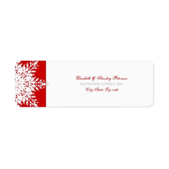 Snowflake red white winter wedding label