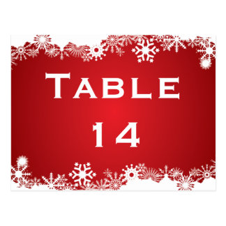 Snowflake red white winter wedding table number postcard