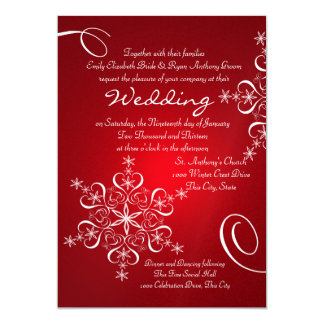Snowflake Red Winter Wedding Card
