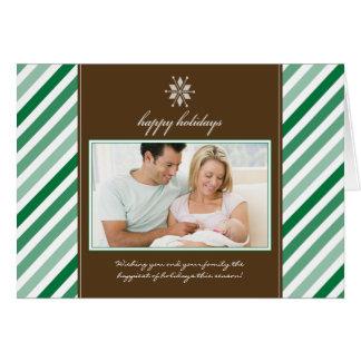 Snowflake Ribbon Family Holiday Card green