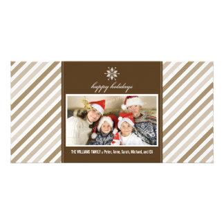 Snowflake Ribbon Family Holiday Photocard (taupe) Custom Photo Card