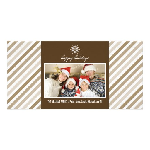Snowflake Ribbon Family Holiday Photocard (taupe) Photo Card Template