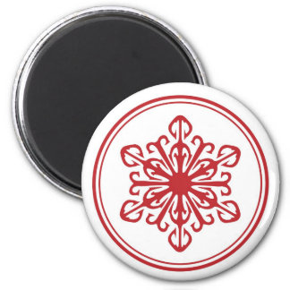 Snowflake Round Magnet - Red