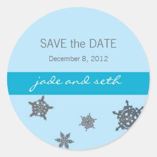 snowflake save the date round sticker