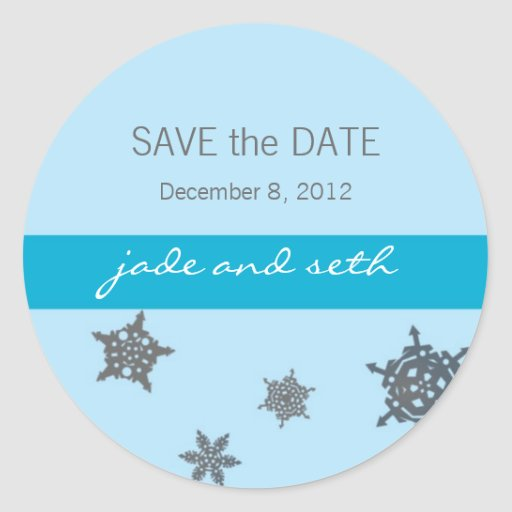 snowflake save the date round sticker