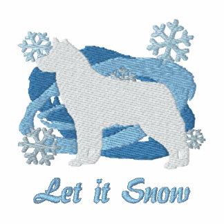 Snowflake Siberian Husky Embroidered Shirt (Hood)