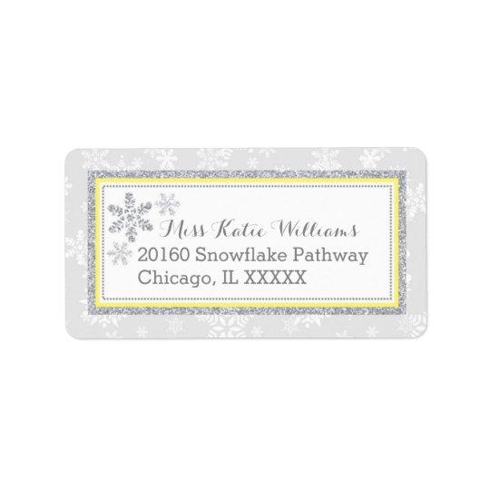 Snowflake Silver Glitter Yellow Label Address Label