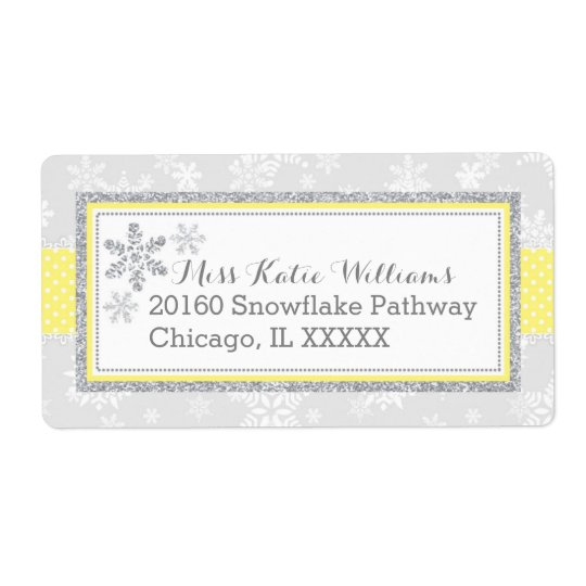 Snowflake Silver Glitter Yellow Label Shipping Label