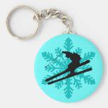 snowflake skiing keychains