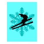 snowflake skiing postcard
