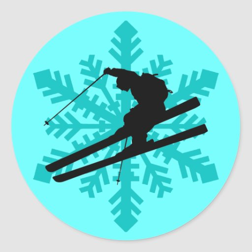 snowflake skiing round sticker
