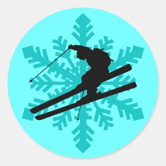 snowflake skiing round sticker