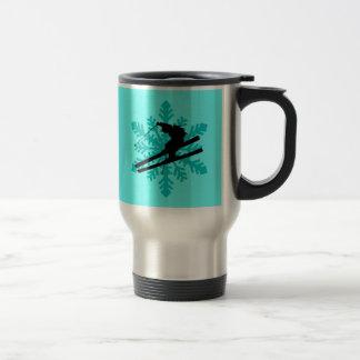snowflake skiing travel mug