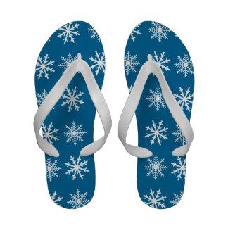 Snowflake slops blue white flip flops