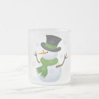 Snowflake Snow Winter Snowy Blizzard Snowman Frosted Glass Mug