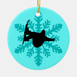 snowflake snowboarder christmas ornament