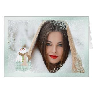Snowflake Snowman  Overlay Photo Christmas Card