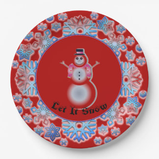 Snowflake Snowman Red Paper Plate