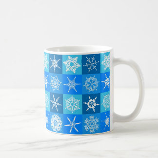 Snowflake Squares on Blue Coffee Mug