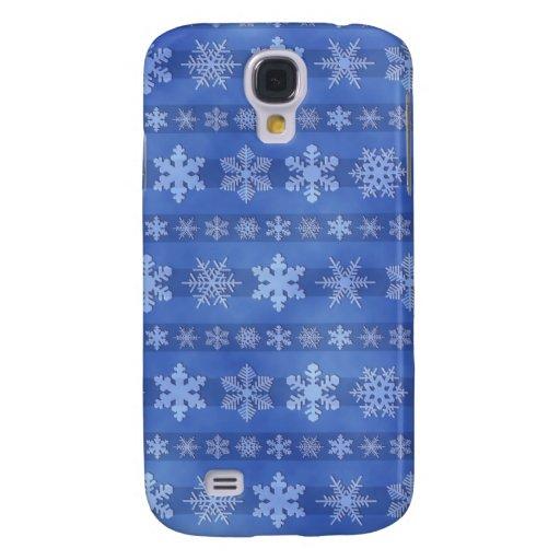 Snowflake Stripes - Blue Galaxy S4 Cover