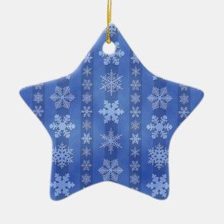 Snowflake Stripes - Blue Ceramic Star Decoration