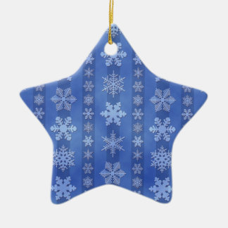 Snowflake Stripes - Blue Double-Sided Star Ceramic Christmas Ornament