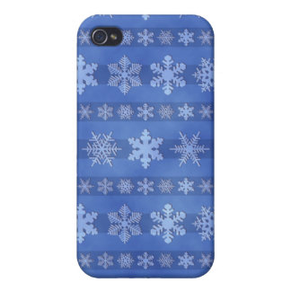 Snowflake Stripes - Blue iPhone 4 Covers