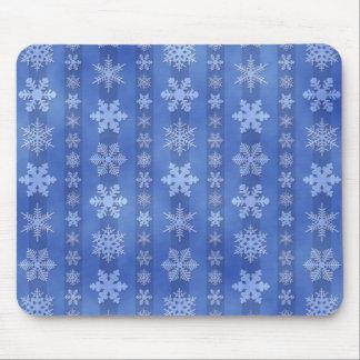 Snowflake Stripes - Blue Mouse Pad