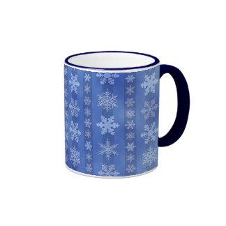 Snowflake Stripes - Blue Ringer Mug