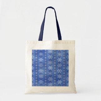 Snowflake Stripes - Blue Budget Tote Bag