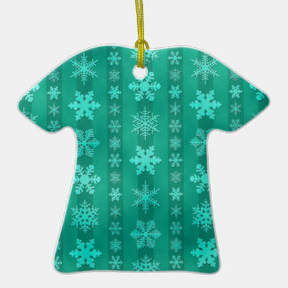 Snowflake Stripes - Green Double-Sided T-Shirt Ceramic Christmas Ornament