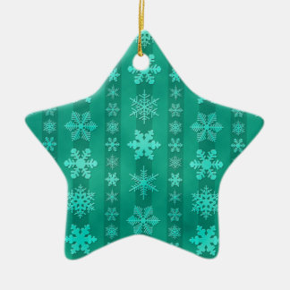 Snowflake Stripes - Green Ceramic Star Decoration