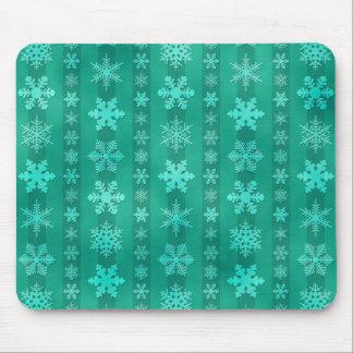 Snowflake Stripes - Green Mouse Pad