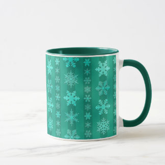 Snowflake Stripes - Green Mug