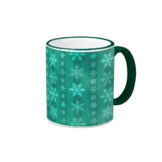Snowflake Stripes - Green Ringer Mug