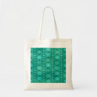 Snowflake Stripes - Green Budget Tote Bag