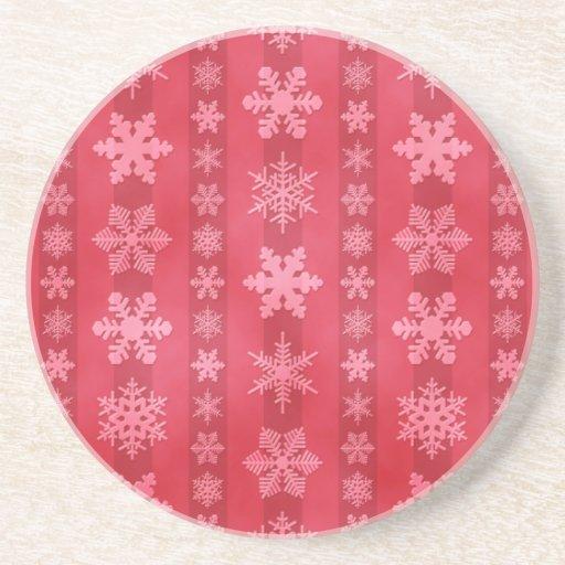 Snowflake Stripes - Red Drink Coasters