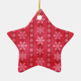 Snowflake Stripes - Red Double-Sided Star Ceramic Christmas Ornament