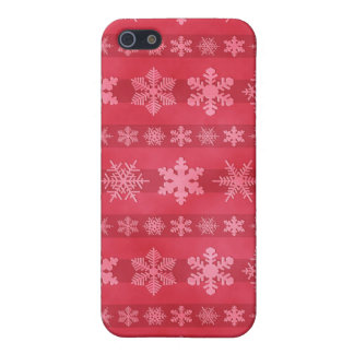 Snowflake Stripes - Red Covers For iPhone 5