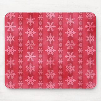 Snowflake Stripes - Red Mouse Pad