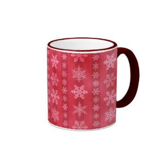 Snowflake Stripes - Red Ringer Coffee Mug